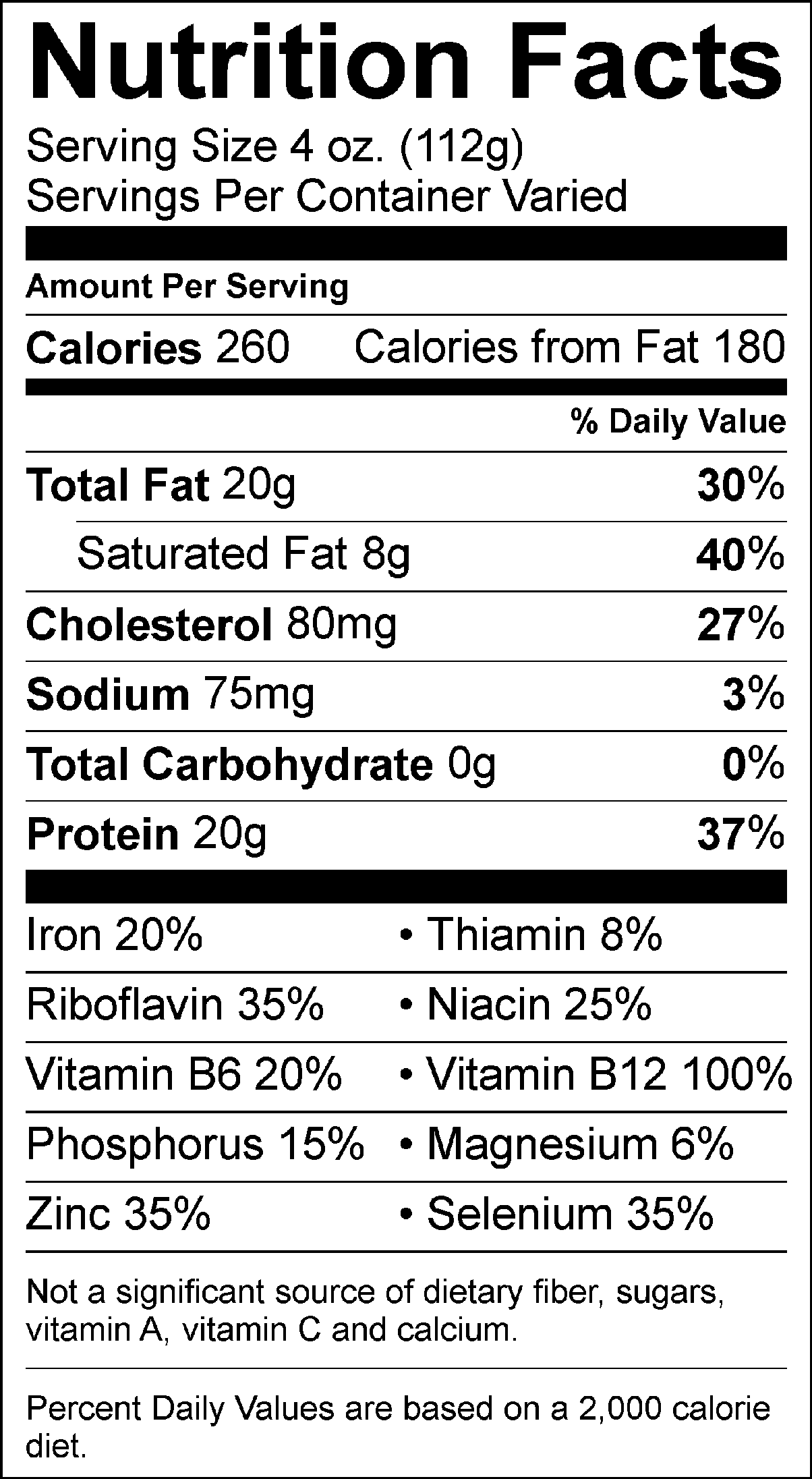 Rumba Meats Outside Skirt Nutrition Facts Label