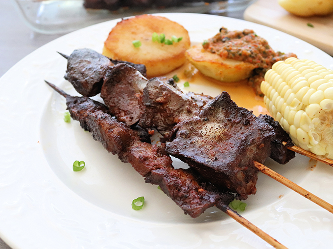 Grilled Anticuchos on Plate